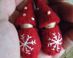 Snowflake Baby Ornaments, Made to Order Baby Gnomes, Waldorf Christmas, holiday decor, red, white, wool, wood