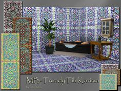 MB-TrendyTileKarimaSET, oriental based tile pattern for wall and floor, shows a stylish and luxury ambiente, comes in 4 different color shades, created for Sims 4, by matomibotaki. Found in TSR...