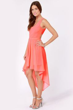 Check it out from Lulus.com! Rock your body right in the Back's Treat Bows Neon Coral High-Low Dress! Fluorescent coral Georgette forms a princess-seamed, tank bodice that cuts away in back, then gathers in the center to form a sweet, sideways bow with sexy cutouts along the sides. Four button-and-loop closures add allure to the left of the bodice, while gathers at the waist add volume to a lovely high-low skirt. Invisible side zipper/hook clasp. Lined to mid-thigh. Model is wearing a size…