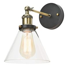 Home Luminaire 31682 Almanor 1-Light Adjustable Sconce with Clear Glass Shade, Antique Brass/Bron...