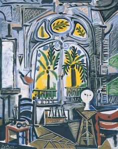 A major painting from the 1950s, 'Studio' depicts the studio of 'La Californie', the villa near Cannes where Picasso and his partner Jacqueline Roque had moved in the summer of 1955. A large nineteenth-century villa at the foot of the Sainte Victoire mountain, La Californie was built in Art Nouveau style and had extensive views towards the coast. Picasso used the large main salon on the ground floor as his studio as well as the place where he received and entertained friends and dealers.