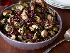 Brussels Sprouts with Balsamic and Cranberries recipe from Ree Drummond via Food Network I can make this a few different way. Try it with and/or without cranberries and the balsamic. Best Christmas Recipes, Holiday Recipes, Holiday Meals, Food Network Recipes, Cooking Recipes, Healthy Recipes, Healthy Eats, Healthy Dinners, Tofu Recipes