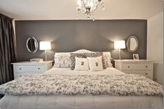 gray accent wall - bedroom  Behr - Antique Tin. I like gray in the bedroom