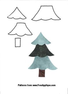 Christmas Tree Pattern - cut out pieces for kids and have them decorate with tiny pom poms