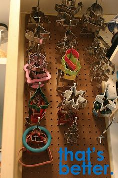 Pegboard to organize cookie cutters. Perfect for an odd space that normally wouldn't be utilized.