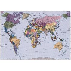 World Map - 4-050 - Photo - Map of the World - 270 x 188cm - Wall Mural | eBay