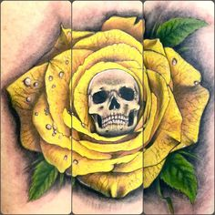 #skull and #yellow #rose in #memory of Trisha on my beloved dear friend Sarah, she lost her in a bike accident. Please drivers always #thinkbike done today by @miguelangeltattoo at @latinangeltattoo #studio in #richmonduponthames #kingstonuponthames #chiswick #fulham #london #londontattoo #uk (at Latin Angel Studio)
