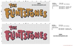 Logo The Flintstones orange or red free cross stitch pattern