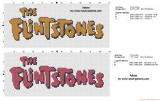 Logo The Flintstones orange or red free cross stitch pattern
