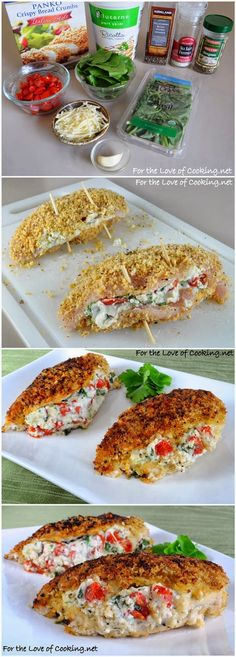 I'd sub out the ricotta, but yum! Panko Crusted Chicken Stuffed with Ricotta, Spinach, Tomatoes, and Basil I Love Food, Good Food, Yummy Food, Great Recipes, Favorite Recipes, Food To Make, Cooking Recipes, Fennel Recipes, Gastronomia