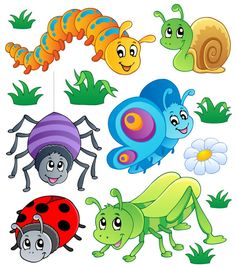 Funny Cartoon Insects vector set 02
