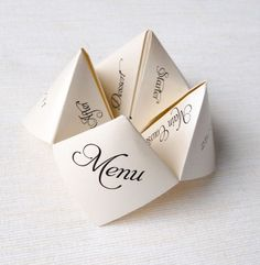 Origami Menlu / place-cards at weddings. Even the program! / Dinner party invite / Birthday.