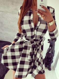 Buy here: http://www.choies.com/product/white-and-black-plaid-belted-3-4-sleeve-shirt-dress_p63532?cid=9085jessica