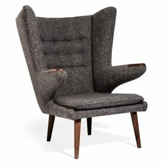 Hans Wegner Papa Bear Chair (Natural American Walnut Frame & Moon Grey Fabric)