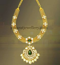 Jewellery Designs Broad Gold Chain Attached Diamond Set Indian