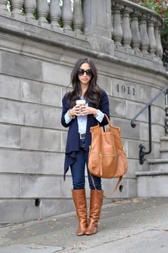 navy drape cardi + leather knee high boots [warmth]