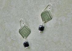 Sterling Patterned Black Onyx Earrings