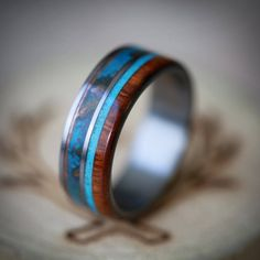 """The """"Element"""" - Patina Copper & Wood with Turquoise Inlays - Staghead Designs Titanium Wedding Rings, Custom Wedding Rings, Gold Wedding Rings, Wedding Bands, Wedding Cake, Bridal Rings, Wedding Venues, Wedding Ideas, Art Nouveau"""