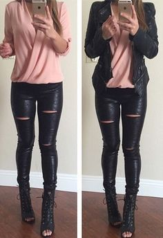 Moto cutout leggings, but not those boots!