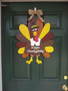 Thanksgiving door hanger handcrafted/painted wooden by burt7, $30.00