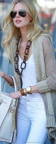 #Trendyoutfits#street #style all-white + beige cardigan @wachabuy