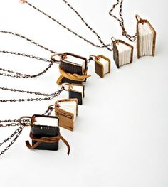 Little book shaped necklaces. http://www.bookcoverideas.com