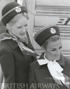 Two British European Airways flight attendants prepare to greet passengers, circa Airline Travel, Air Travel, Travel Deals, Travel Hacks, Travel Essentials, Budget Travel, Travel Tips, British European Airways, Happy Wanderers