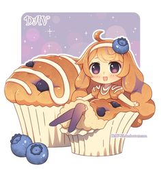 anime girl as blueberry muffin