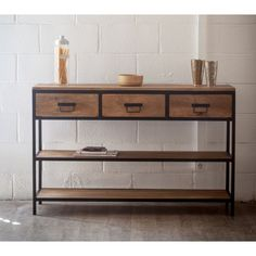 Metal and wood drawers console Console Metal, Console Style, Metal Furniture, Industrial Furniture, Diy Furniture, Wooden Dining Tables, Dining Room Table, Small Master Bedroom, Wood Drawers