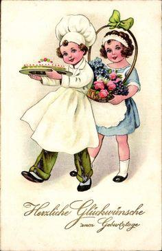 56234 Alte Geburtstagsgrußkarte mit Kindern, Blumen, Kuchen