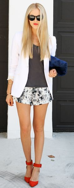 white blazer + grey tank + grey and white patterned shorts + fab pop of color from cherry red ankle strap heels