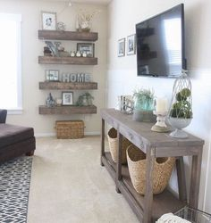 Love the shelves and the console table