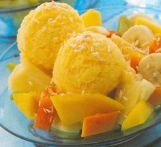 Mango Sorbet with Tropical Fruit Salad