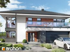 Projekt domu Willa Miranda 4 (G2) - ARCHON+ Beautiful House Plans, Beautiful Homes, Micro House, My House, Home Addition Plans, Facade House, House Floor Plans, Modern Architecture, House Design