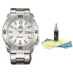 Orient EM7D005W Men's Hammerhead Sporty White Dial Stainless Steel Automatic Watch with 30ml Ultimate Watch Cleaning Kit