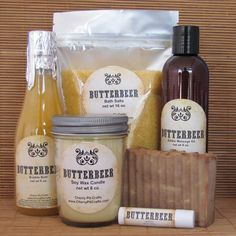 Harry Potter Butterbeer Gift Set - Bath Salt, Soy Candle, Soap, Lip Balm, Bubble Bath and Edible Massage Oil