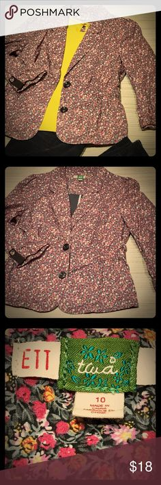 """ANTHROPOLOGIE ETT taia floral jacket Floral print cotton jacket, 3/4 length tab sleeves.  Gathered waist with tie in back. Good pre-loved condition. Bust: 34""""; length: 23"""". Anthropologie Jackets & Coats Blazers"""