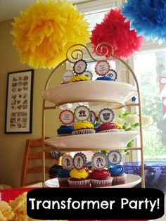Transformer Birthday party-buy cheap colored hanging balls and put vinyl transformer decals on them