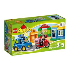 Lego Duplo - La Policia;  El ladrón intenta robar el dinero del banco. Corre, súbete al coche de la policía y detenlo antes de que escape en su veloz moto. Incluye 2 figuras LEGO DUPLO: un agente de policía y un ladrón... En   http://www.opirata.com/lego-duplo-policia-p-25884.html