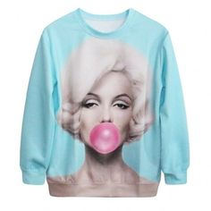 Womens Mens Pattern Printing Round Neck Loose Long Sleeve T-Shirt Thicking Top Blouse Winter