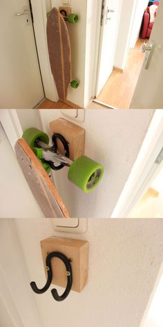Interior decoration # Longboard bracket cheap & easy to build yourself.
