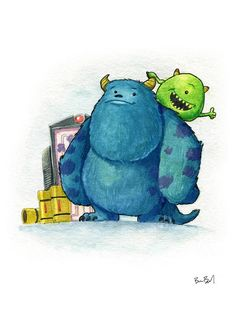 Monsters Inc Mike and Sully Fan Art Watercolor Print Monsters Inc Characters, Star Monsters, Sully Monsters Inc, Mike From Monsters Inc, Monster L, Monster Squad, Wall E, Disney Sketches, Disney Drawings
