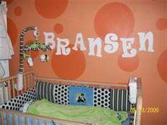 Baby Boy's Lime Green and Orange Polka Dots Panda Theme Nursery- name on wall