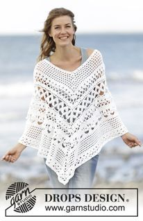"""Light's Embrace - Crochet DROPS poncho with lace pattern, worked top down in """"Paris"""". Size S-XXXL. - Free pattern by DROPS Design"""