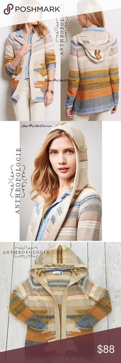 """Anthropologie {Sparrow} Aztec hooded cardigan Gorgeous Anthropologie {Sparrow} Aztec stripe hooded open cardigan is perfect with denim or chinos. Cotton blend with a touch of cashmere. Two front pockets make this extra cute. Approximately 27"""" Long from high shoulder to front hem. Fits true to size. Great condition, smoke free home. Price firm please. Please read my bio regarding closet policies prior to any inquiries. Anthropologie Sweaters Cardigans"""
