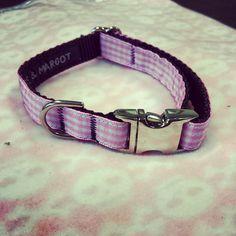 Pink Gingham Dog Collar Size XS   www.spoileddogz.co.uk