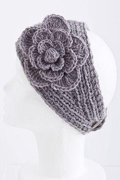 ♥  New Gray Knitted Flower Headwrap Headband Hair Band | eBay