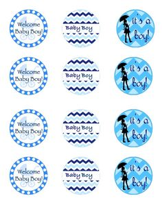 Free baby boy blue printables - so cute for a baby shower!