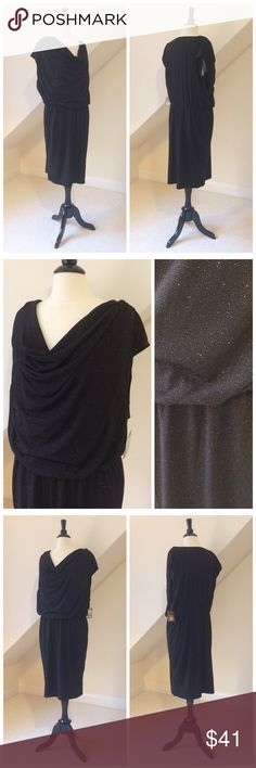 🆕 Ellen Tracy Glitter Dress NWT Ellen Tracy Glitter Party Dress...knee length...cowl neckline...black stretch knit with copper glitter throughout...elastic at waist...pullover style...poly/hand wash. Size XL Retail $129 Ellen Tracy Dresses Midi