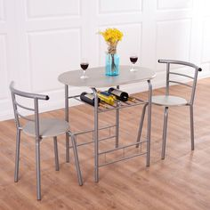 Costway 3 Piece Dining Set Table 2 Chairs Bistro Pub Home Kitchen Breakfast Furniture, Red wine